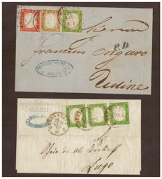 Sardinia, 1855/1863 – 5 cents, green, strip of three on letter from Sinigallia to Udine – Tricolour franking 5 cent, 10 cent and 40 cent on letter from Milan to Lugo – Sass. No.  13Ea and 13Db, 14Co and 16D