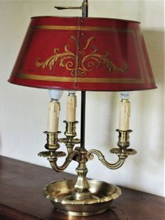 Bouillotte lamp - France - 20th century - Napoleon III style - three light sources