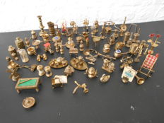 Collection of 66 metal copper-coloured miniatures