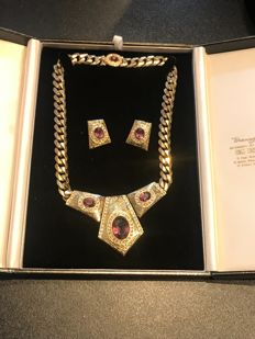Vintage statement crystal set Swarovski boxed necklace  and earrings