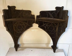 Two carved wooden corner consoles, mid 20th century