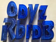 Nine illuminated letters - blue Capri colour - 1990s - Italy
