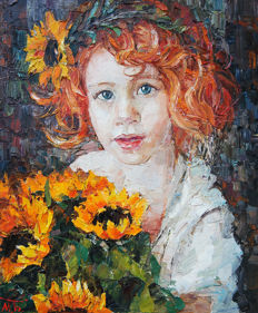 Bobyreva Mariia - Girl with Sunflowers