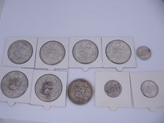 Peru – 1/5 Sol 1899, 1903 and 1916 + Sol 1869/1924 (10 pieces in total) – silver