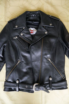 Genuine Harley Davidson leather biker jacket - size S