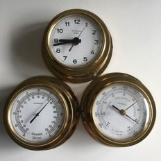 Brass gold-coloured Inproco Barometer -Thermometer and Clock