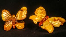 Two vintage butterflies brooch made of 100% Natural Baltic Amber, 16 grams