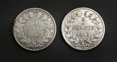 France - 5 francs 1846-W & 1847-A (lot of 2 coins) - Louis Philippe I - silver