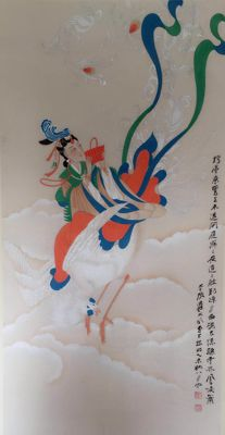 A hand painted scroll painting《张大千-佛像》- China - late 20th century