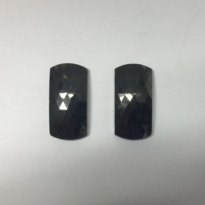 Matching Pair of Treated Black totalling 33.05 ct. Rectangular shape Flat one side Diamond, AIG Certified