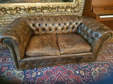 leather Chesterfield style 2 seater sofa, mid 20th century