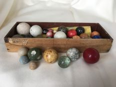 Nostalgic marbles of clay, bone and glass