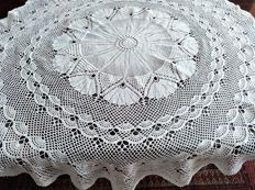 Antique handmade round crochet tablecloth