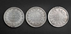 France - 5 francs 1832-H, 1833-A & 1834-W (lot of 3 coins) - Louis Philippe I - silver