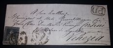Tuscany 1860 - 6 crazie, slate grey, used on letter from Florence to Venice - Sass. No. 7