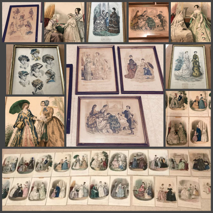 Old prints, framed under glass, Mode de Paris, printed in Paris in the 19th century