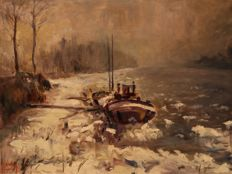 Guy Carton (1929-2012) - Post-impressionistisch winterlandschap