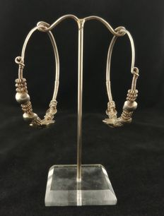 Handmade silver earrings – India, mid-20th Century