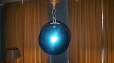 Large antique old blown glass ball,coloured blue