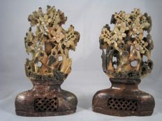 Two antique cut soapstone sculptures – China – first half 20th century