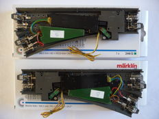 Märklin H0 - 24611/-12/74490/-60/-70 - 2 straight C-rail switches with 2x decoder, 2x switch drive, and 2x lantern; weathered