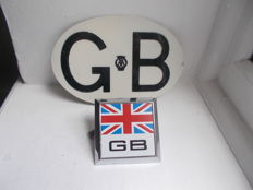 2 x   vintage GB chrome car badge with back plate and fixings  and  GB  AA alloy plate  both original