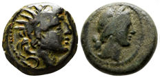 Greek Antiquity – lot of 2 coins AE 1 ª Seleukid Empire Antiochos VIII (121/0-97/6 BC) / 2º Mysia Kyzikos Kore Soteira Wreath (2nd Century BC)