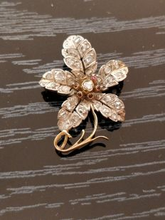 Italian brooch- Antique Victorian 14kt Gold flower pin with diamond and ruby encrusted