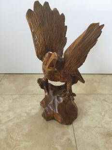 Hand carved large wooden eagle Second half of the 20th century