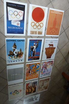 13 Retro-posters of the Olympic Games, various years