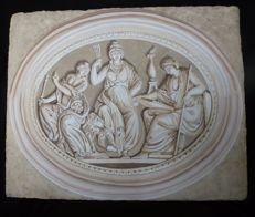 """Muse"" - monochrome painting depicting the three Muses, inspired to the Neoclassical style and period"