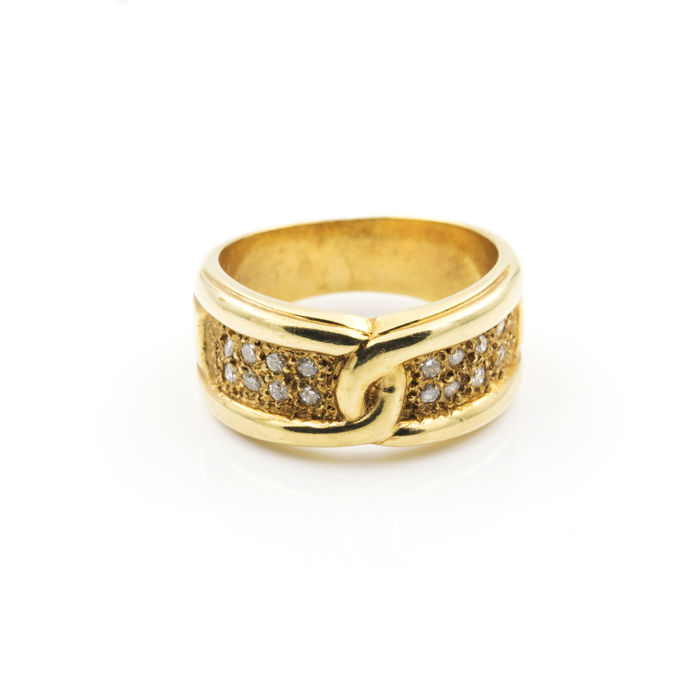 Yellow gold 18 kt/750 - Cocktail ring - Brilliant cut diamond of 0.50 ct - Cocktail ring size 15 (Spain)