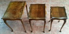 Three wooden tables with removable glass top - English vintage, 1950s/60s