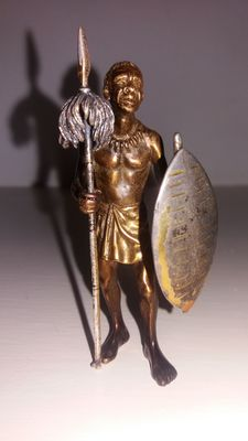Bronze sculpture, partly silver-plated - signed Angini - early 1900s