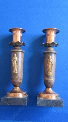 Two art deco Lourdes candle holders on marble foot