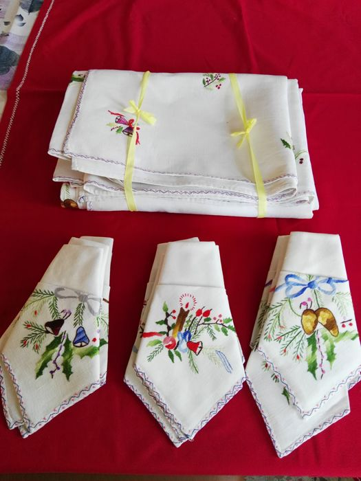 Large Christmas Tablecloth Or Table Linen Embroidered By Hand