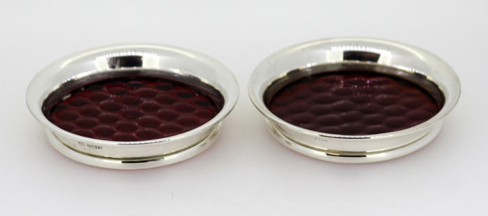 Pair of vintage small glass and sterling silver cup/wine coasters - Barker Ellis Silver Co & Henry Clifford Davis - Birmingham - 1963 & 1964