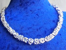 Sterling silver women's necklace 925, 6 mm wide, weight 38 g, length 50 cm