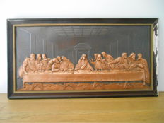 Framed copper plate of The Last Supper from 1900