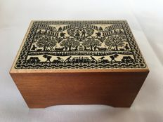 Jobin of Switzerland - high quality Swiss numbered wooden music box with scene from the region and visible playing mechanism on the inside, 'Min Vater isch en Appenzeller'