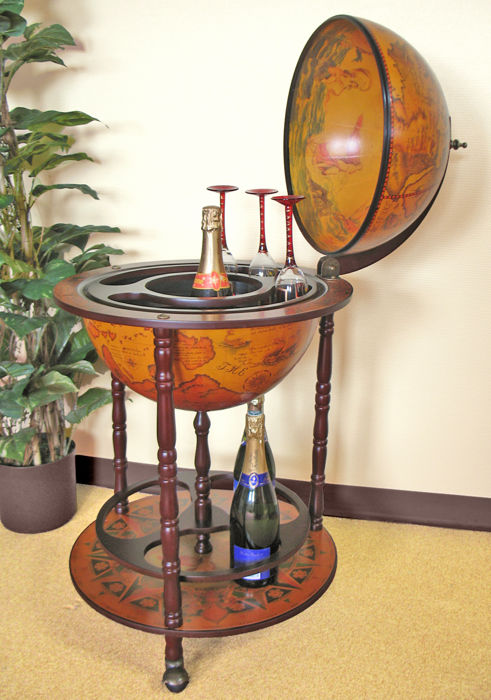 Globe bar cabinet wood on wheels -  20th Century - around the globe is the zodiac portrayed