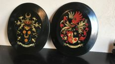 A set of painted Heraldic family shields - Brunings, La Rivière - the Netherlands - circa 1900