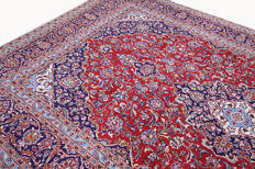 Beautiful Persian Kashan carpet, 3.80 x 2.40, genuine hand-knotted oriental carpet, beautiful pattern / quality