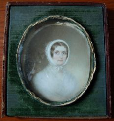 Pamelia Hill, Boston - American miniature of a lady, signed and dated 1842