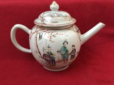 A large Famille rose mandarin teapot - China - Qianlong period (1736-1795)