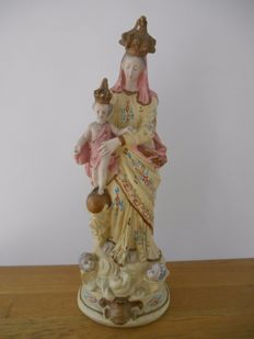 Beautiful plaster statue of Notre Dame de Victoires from 1900