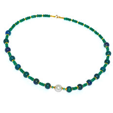 Chrysocolla, green Quartz, Pearl and Emerald necklace – Length 47.0 cm, 14kt/585 yellow gold clasp