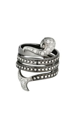 MAUBOUSSIN - 'Ma petite Sirene' ring - 925 silver and diamonds (0.16 ct) Size 51.