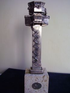 Control tower, Italian 800 silver sculpture with marble base