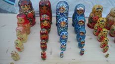 Set of 56 pieces of hand-painted matrioshka wooden figures